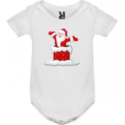 Dětské body tričko Santa v komínu