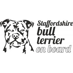 Stafford bull terrier on board